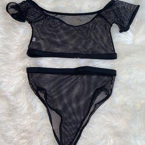 Black mesh bikini two piece